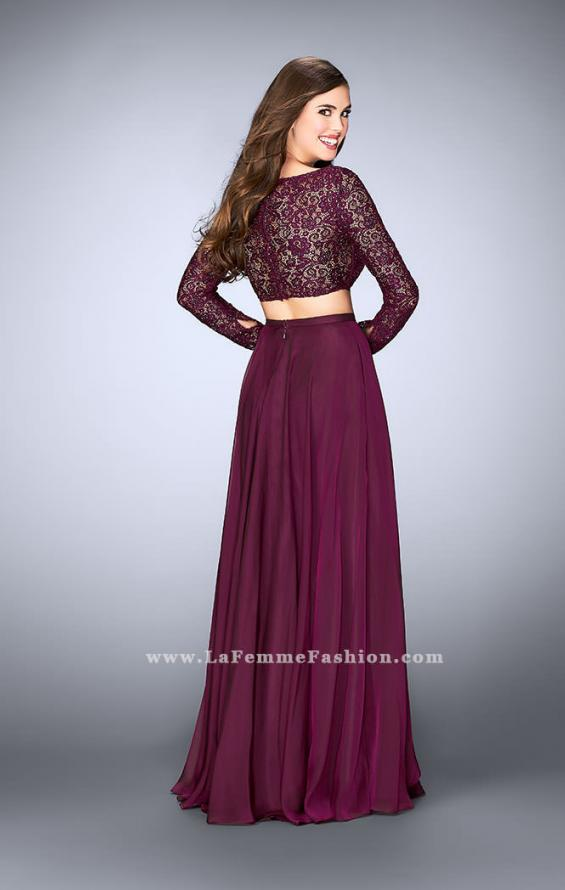 Picture of: Long Sleeve Two Piece Gown with Sheer Neckline, Style: 23937, Back Picture