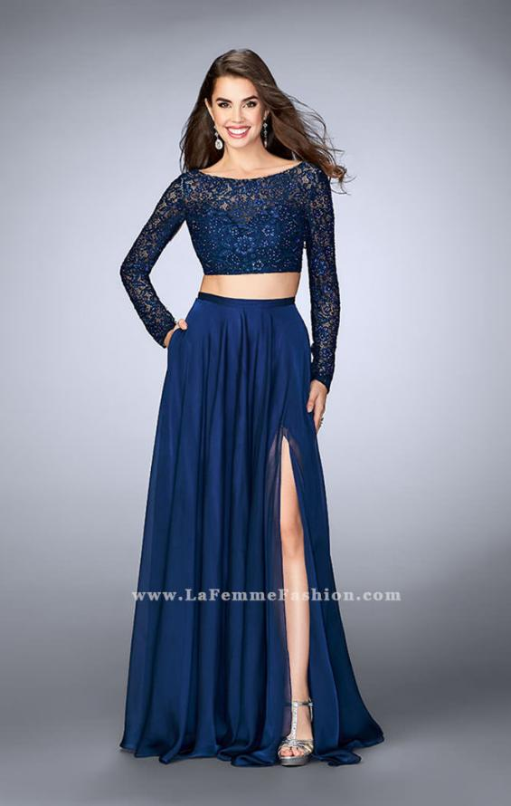 Picture of: Long Sleeve Two Piece Gown with Sheer Neckline, Style: 23937, Detail Picture 1