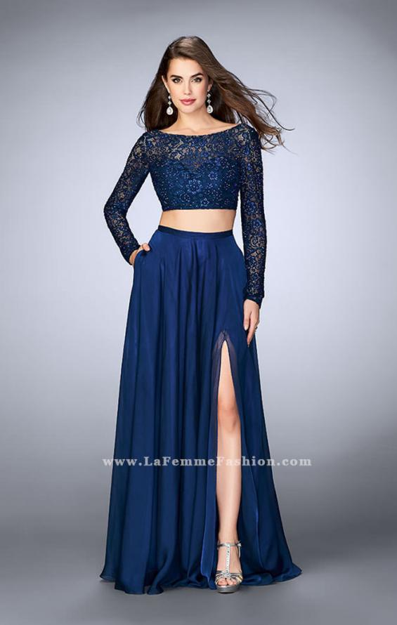 Picture of: Long Sleeve Two Piece Gown with Sheer Neckline, Style: 23937, Detail Picture 2