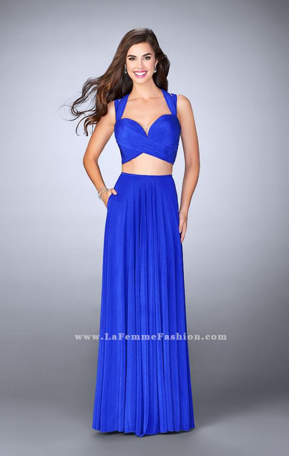 Picture of: Two Piece Prom Dress with Pockets and Strappy Back in Blue, Style: 23940, Main Picture