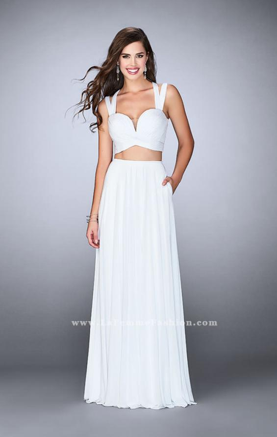 Picture of: Two Piece Prom Dress with Pockets and Strappy Back in White, Style: 23940, Detail Picture 2