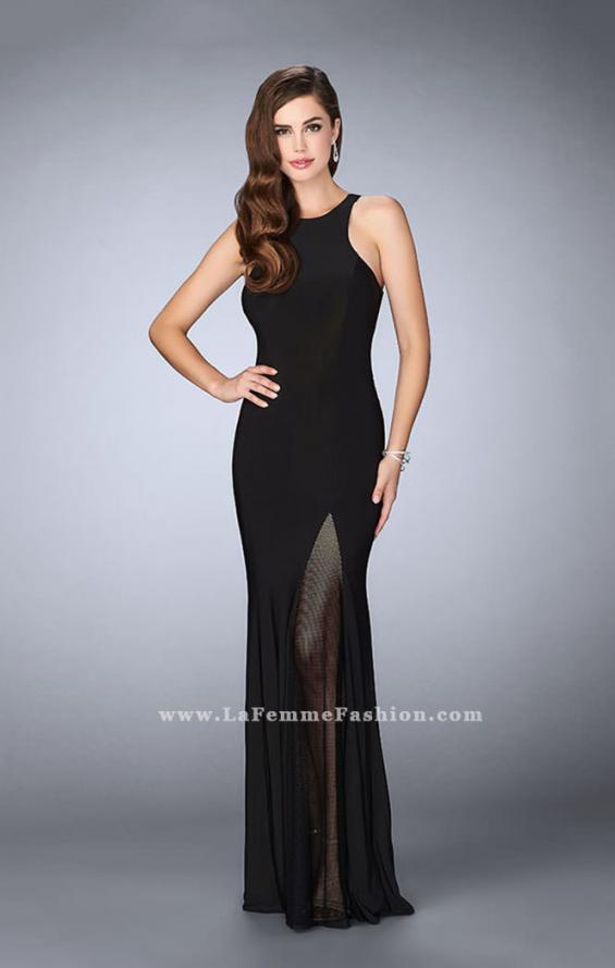 Picture of: Jersey Prom Gown with Fishnet Slit and Open Back in Black, Style: 23956, Main Picture