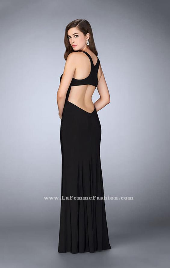 Picture of: Jersey Prom Gown with Fishnet Slit and Open Back in Black, Style: 23956, Back Picture