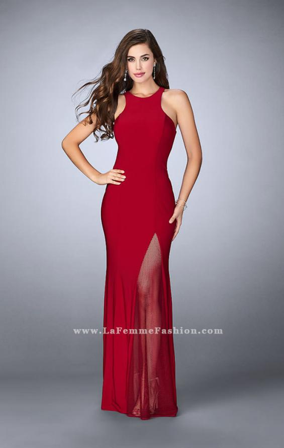 Picture of: Jersey Prom Gown with Fishnet Slit and Open Back in Red, Style: 23956, Detail Picture 1