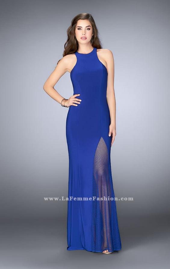 Picture of: Jersey Prom Gown with Fishnet Slit and Open Back in Blue, Style: 23956, Detail Picture 2
