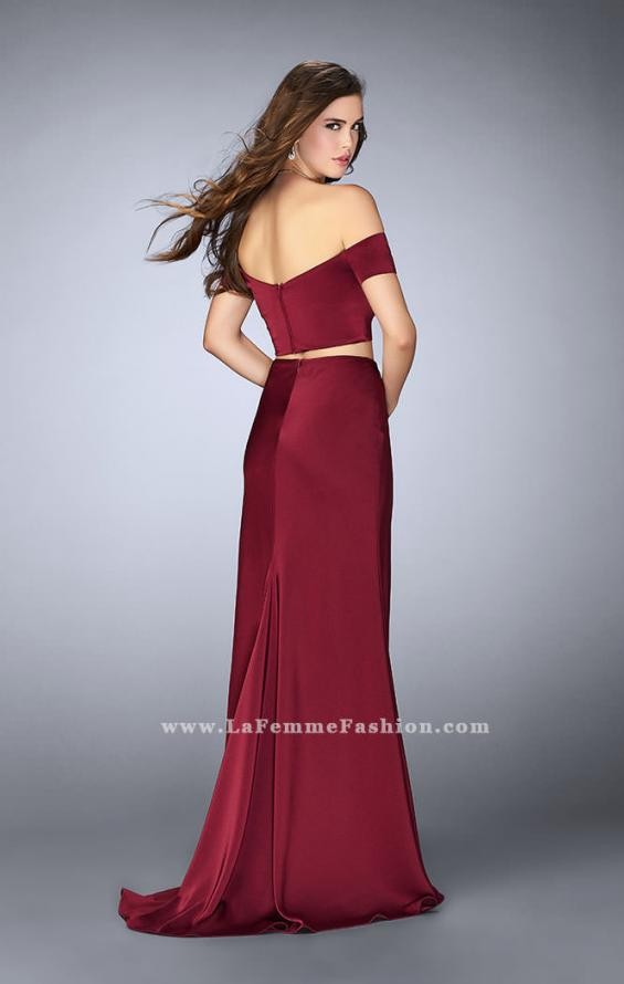 Picture of: Two Piece Off the Shoulder Prom Dress with Slit in Red, Style: 23963, Back Picture