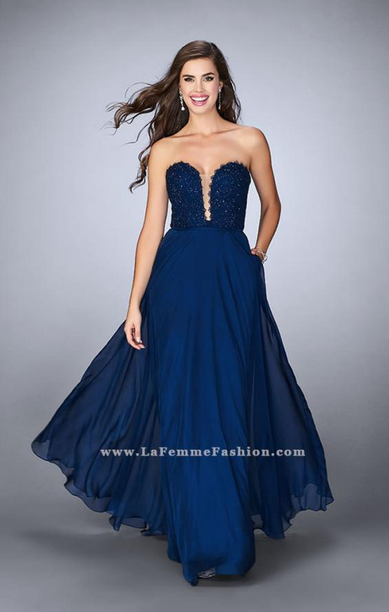 Picture of: Lace Scalloped Long Prom Dress with Pockets, Style: 23970, Main Picture