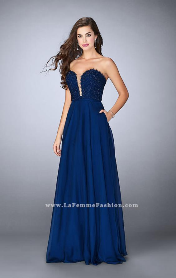 Picture of: Lace Scalloped Long Prom Dress with Pockets, Style: 23970, Detail Picture 1