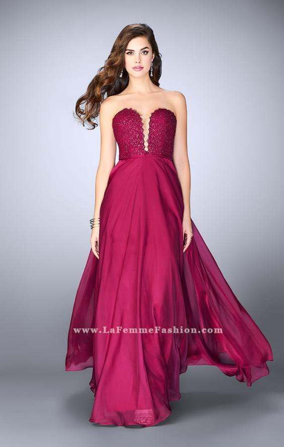 Picture of: Lace Scalloped Long Prom Dress with Pockets, Style: 23970, Detail Picture 2