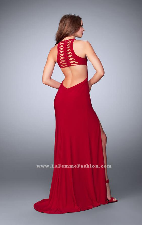 Picture of: Long Jersey Prom Dress with Lace Up Front and Back, Style: 23973, Back Picture