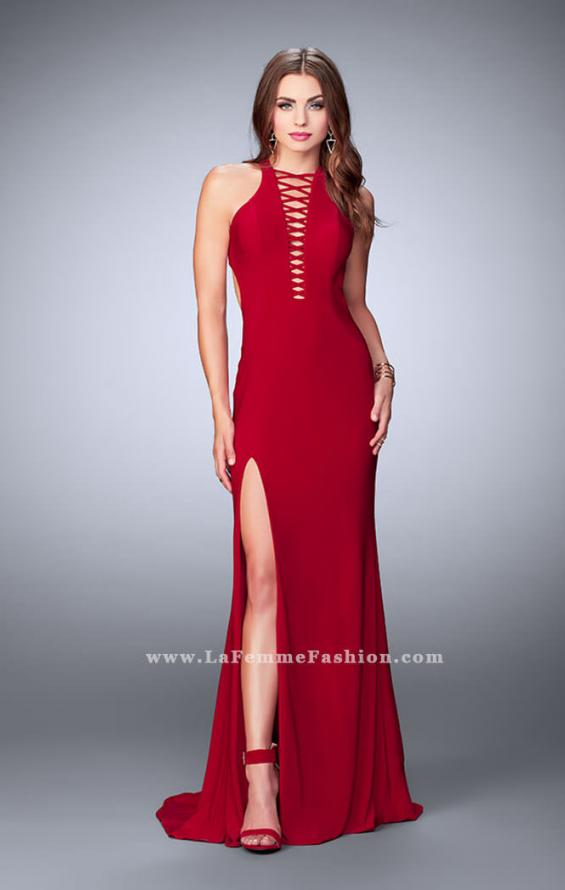Picture of: Long Jersey Prom Dress with Lace Up Front and Back, Style: 23973, Detail Picture 1