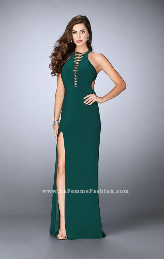 Picture of: Long Jersey Prom Dress with Lace Up Front and Back, Style: 23973, Detail Picture 2