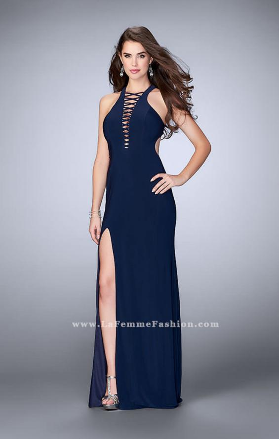 Picture of: Long Jersey Prom Dress with Lace Up Front and Back, Style: 23973, Detail Picture 3