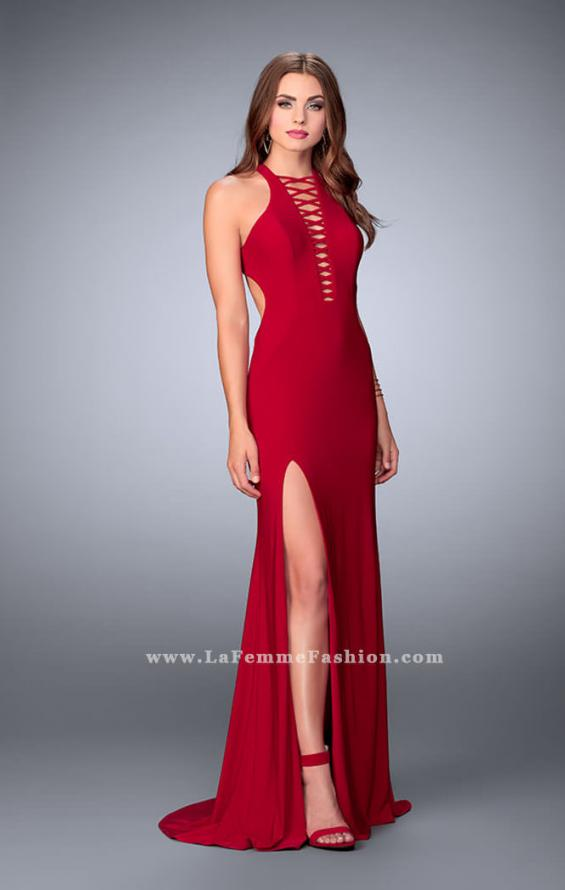 Picture of: Long Jersey Prom Dress with Lace Up Front and Back, Style: 23973, Detail Picture 4