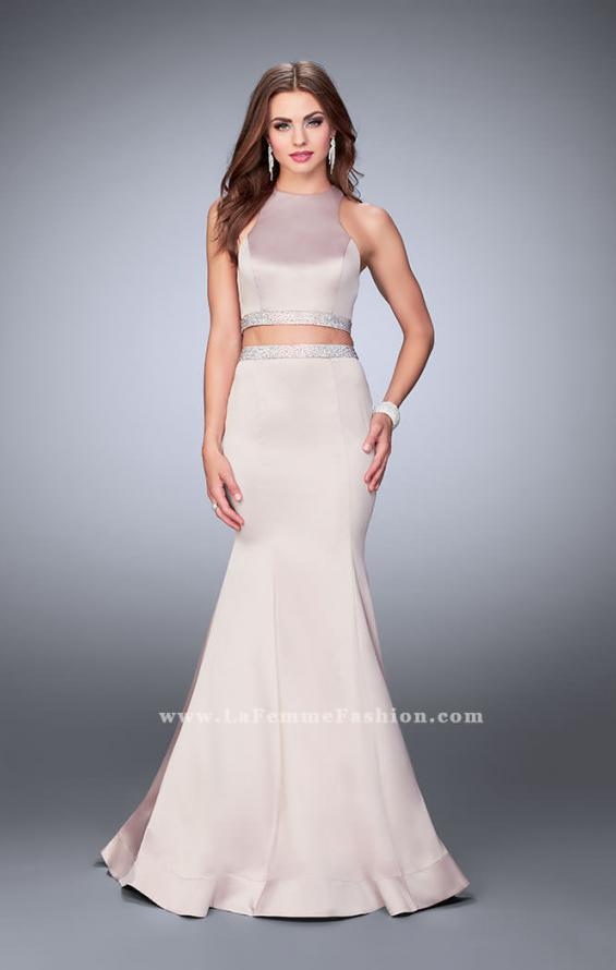 Picture of: Satin Two Piece Mermaid Prom Dress with Beaded Belt in Nude, Style: 23974, Main Picture