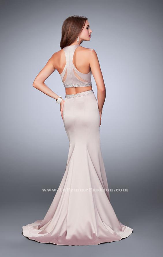 Picture of: Satin Two Piece Mermaid Prom Dress with Beaded Belt in Nude, Style: 23974, Back Picture