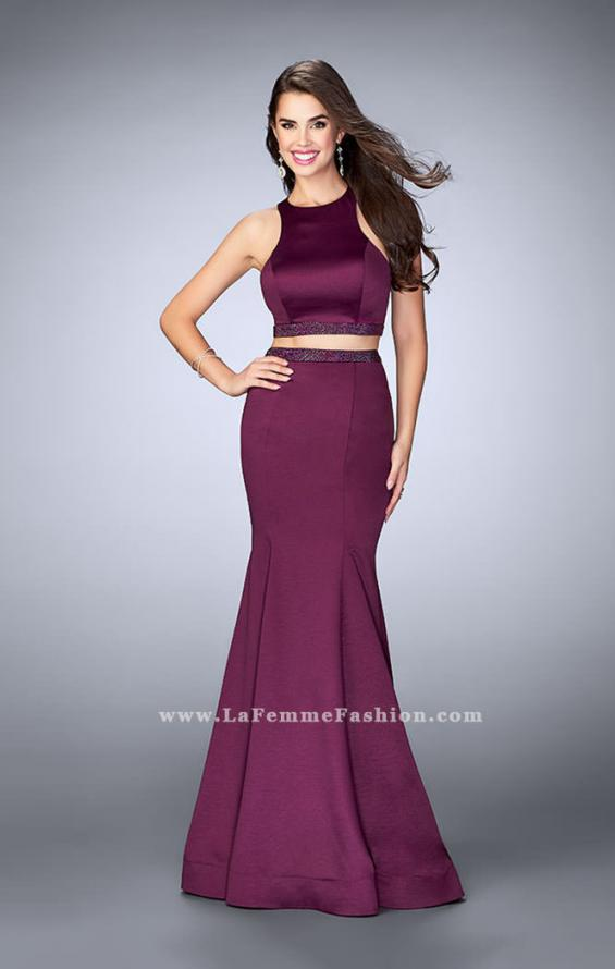 Picture of: Satin Two Piece Mermaid Prom Dress with Beaded Belt in Purple, Style: 23974, Detail Picture 1