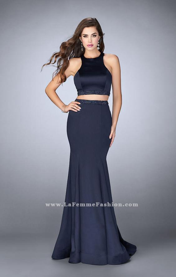 Picture of: Satin Two Piece Mermaid Prom Dress with Beaded Belt in Blue, Style: 23974, Detail Picture 2