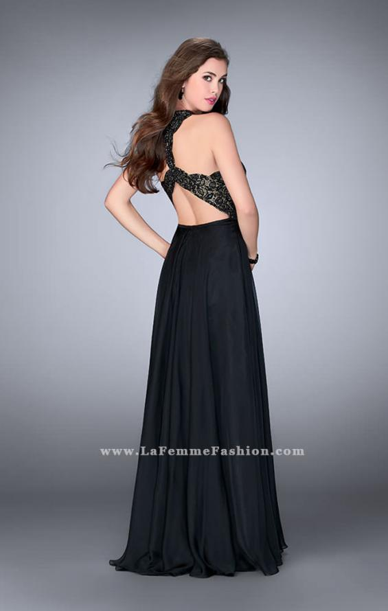 Picture of: Long High Collar A-line Prom Dress with Pockets in Black, Style: 23975, Back Picture
