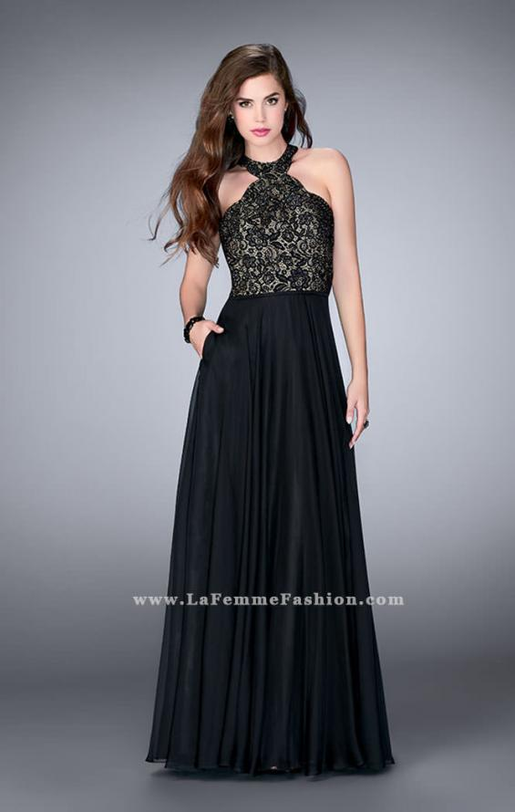 Picture of: Long High Collar A-line Prom Dress with Pockets in Black, Style: 23975, Detail Picture 1