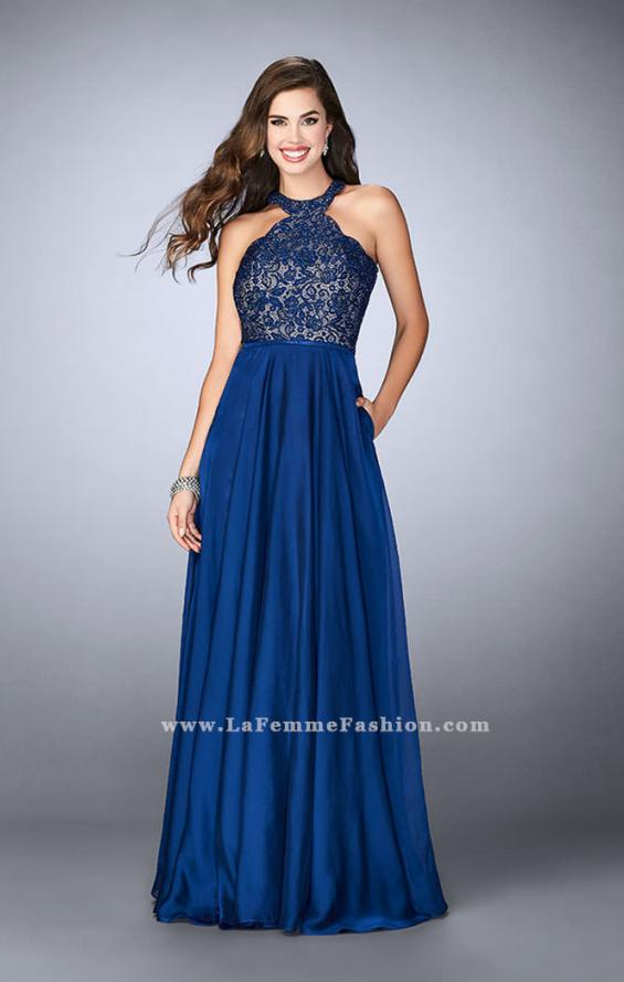 Picture of: Long High Collar A-line Prom Dress with Pockets in Blue, Style: 23975, Detail Picture 2