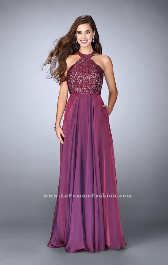 Picture of: Long High Collar A-line Prom Dress with Pockets in Purple, Style: 23975, Detail Picture 3