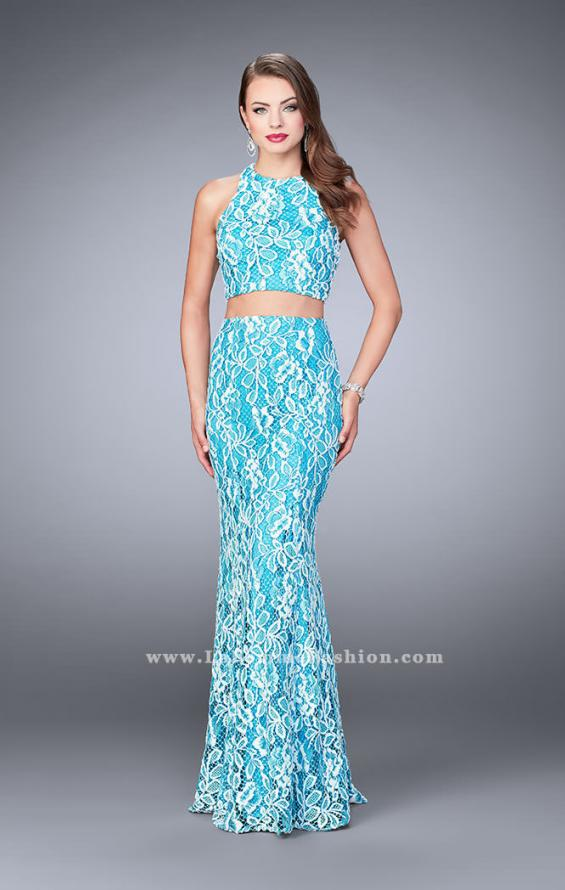 Picture of: Two Piece Multi-Colored Lace Dress with Racer Back, Style: 23976, Detail Picture 2