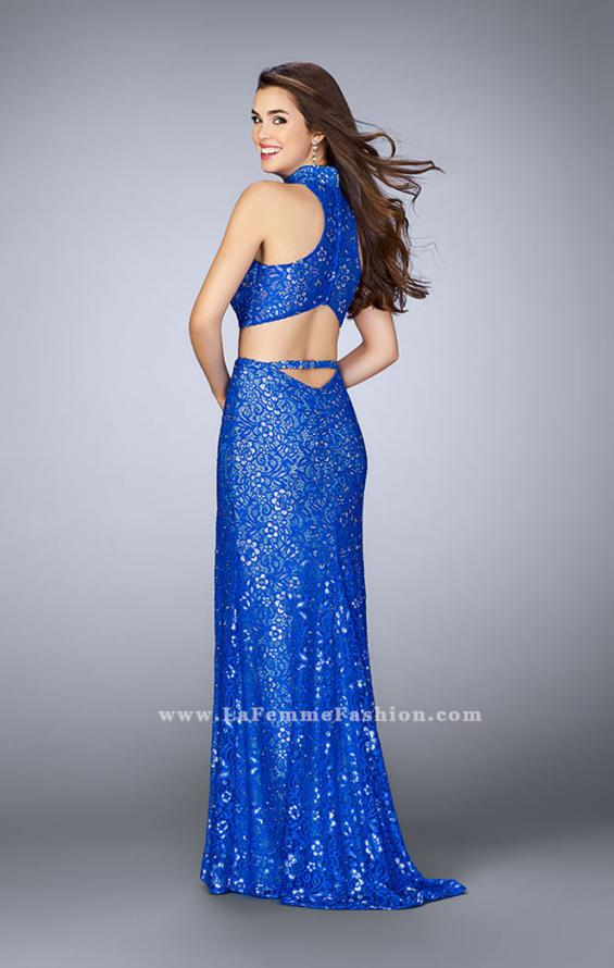 Picture of: Lace Two Piece Gown with High Neck and Embellishments in Blue, Style: 23978, Back Picture
