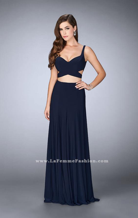 Picture of: Two Piece Jersey Dress with Cut Outs and Open Back in Blue, Style: 23986, Main Picture