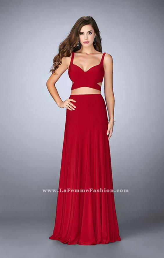 Picture of: Two Piece Jersey Dress with Cut Outs and Open Back in Red, Style: 23986, Detail Picture 1