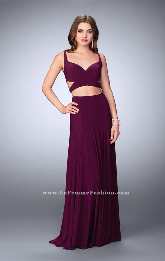 Picture of: Two Piece Jersey Dress with Cut Outs and Open Back in Purple, Style: 23986, Detail Picture 2