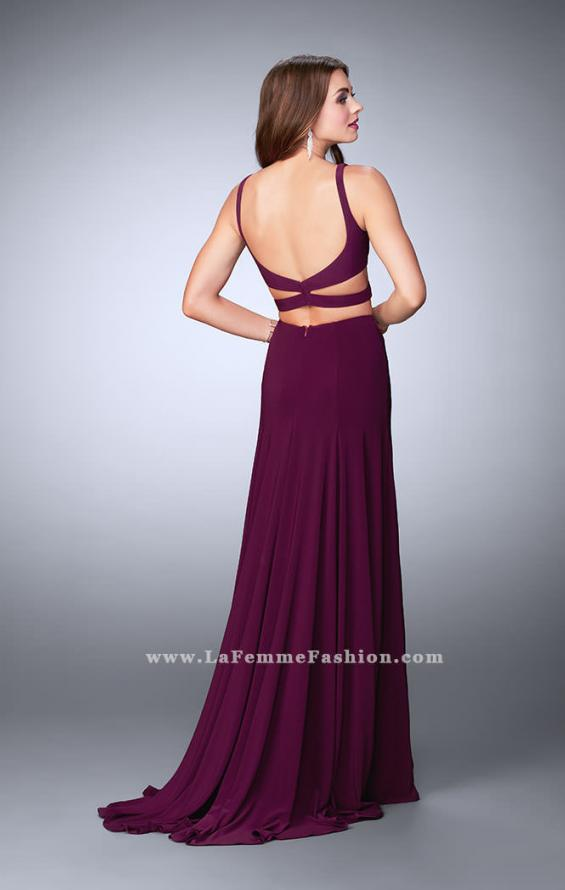 Picture of: Two Piece Jersey Dress with Cut Outs and Open Back in Purple, Style: 23986, Detail Picture 3