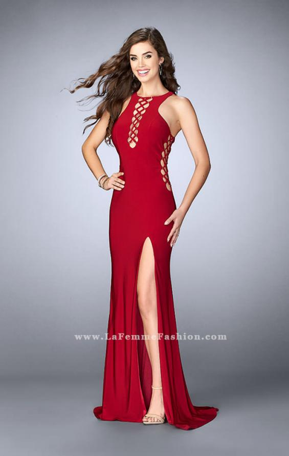 Picture of: Fitted Jersey Dress with Lace Up Neckline and Sides, Style: 23989, Detail Picture 1