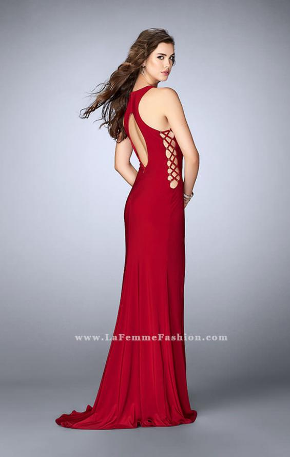 Picture of: Fitted Jersey Dress with Lace Up Neckline and Sides, Style: 23989, Detail Picture 2