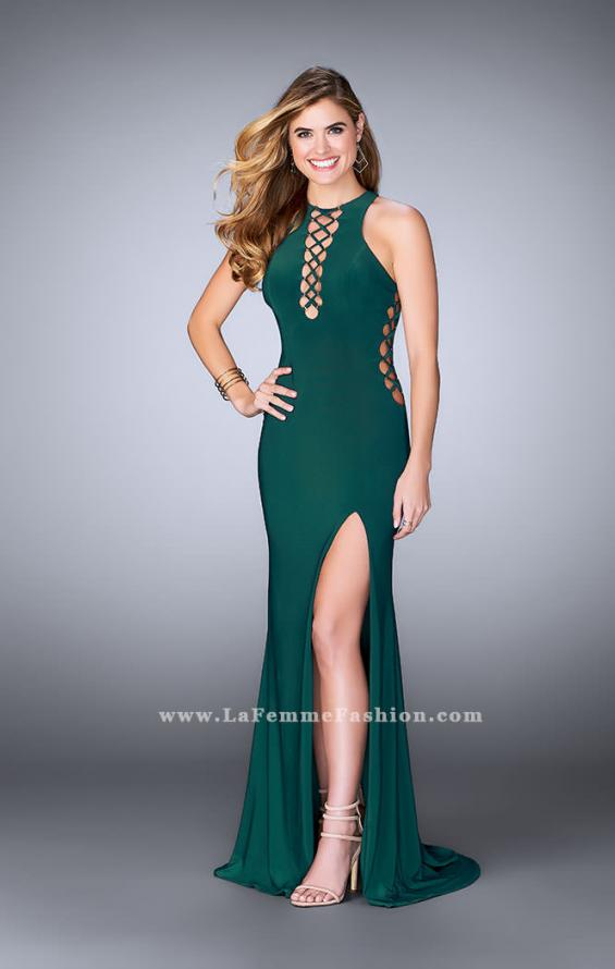 Picture of: Fitted Jersey Dress with Lace Up Neckline and Sides, Style: 23989, Detail Picture 3