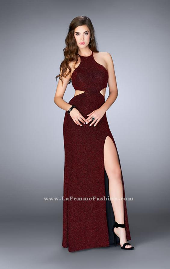 Picture of: Long Sparkly Jersey Prom Dress with Strappy Back, Style: 23992, Detail Picture 1