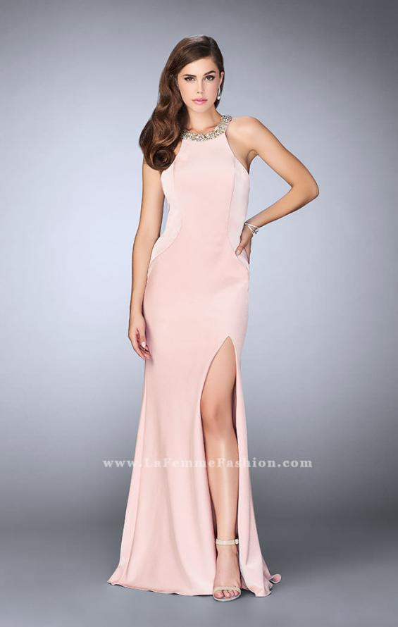 Picture of: High Beaded Neck Prom Dress with Strappy Back in Pink, Style: 23993, Detail Picture 2