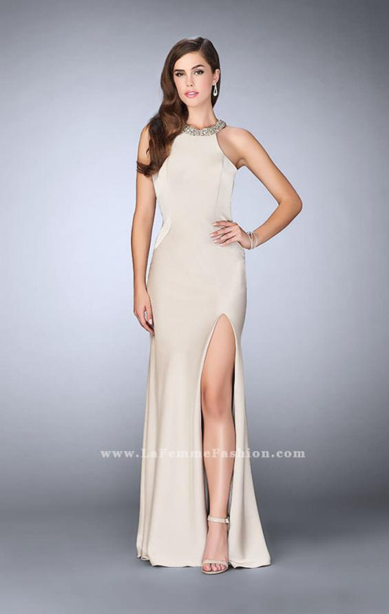 Picture of: High Beaded Neck Prom Dress with Strappy Back in Nude, Style: 23993, Detail Picture 3