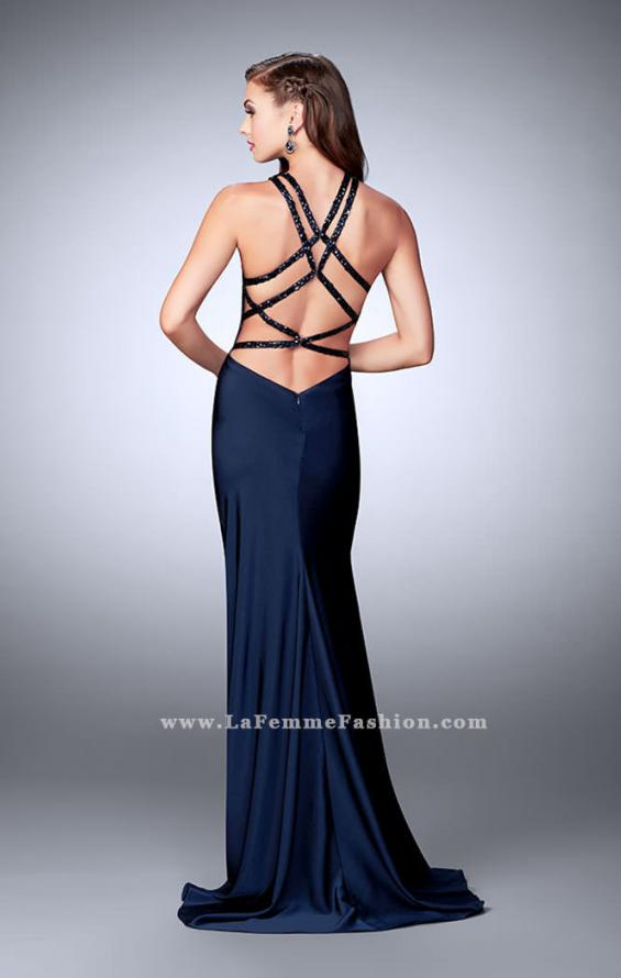 Picture of: High Beaded Neck Prom Dress with Strappy Back in Blue, Style: 23993, Detail Picture 5