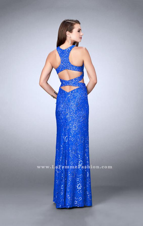 Picture of: Long Lace Prom Dress with Cut Outs and Racer Back in Blue, Style: 23999, Back Picture