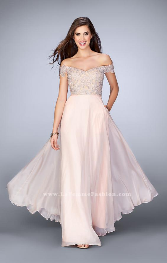 Picture of: A-line Chiffon Dress with Off the Shoulder Lace Top in Pink, Style: 24001, Main Picture