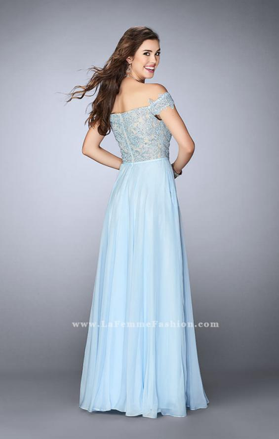 Picture of: A-line Chiffon Dress with Off the Shoulder Lace Top in Blue, Style: 24001, Back Picture