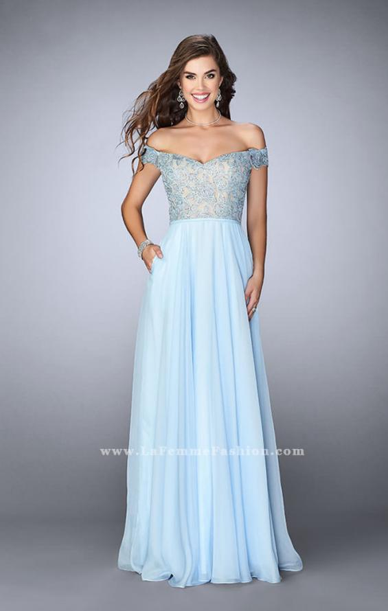Picture of: A-line Chiffon Dress with Off the Shoulder Lace Top in Blue, Style: 24001, Detail Picture 1