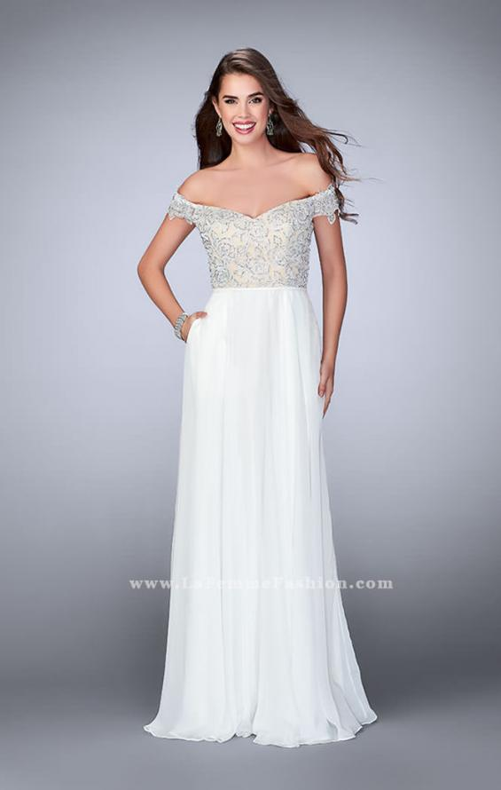 Picture of: A-line Chiffon Dress with Off the Shoulder Lace Top in White, Style: 24001, Detail Picture 2