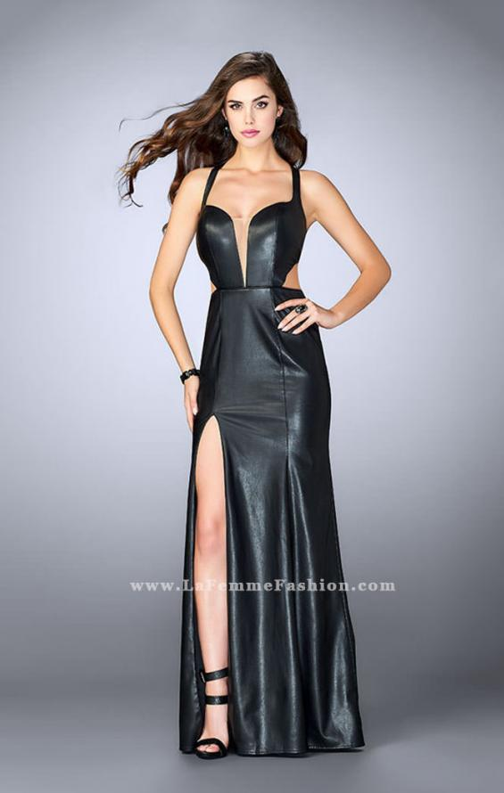 Picture of: Vegan Leather Dress With V Neckline and Racer Back, Style: 24002, Main Picture