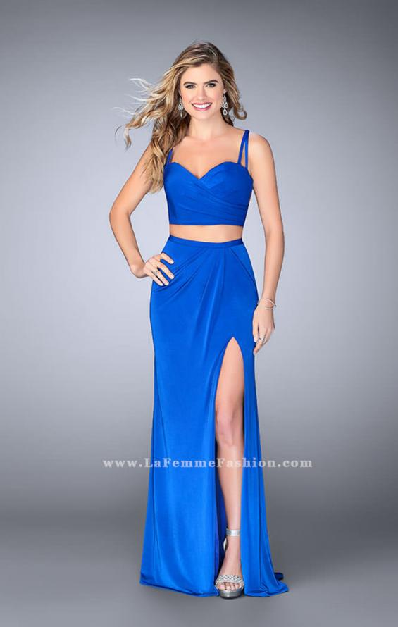 Picture of: Two Piece Gathered Jersey Dress with Side Slit in Blue, Style: 24007, Detail Picture 2