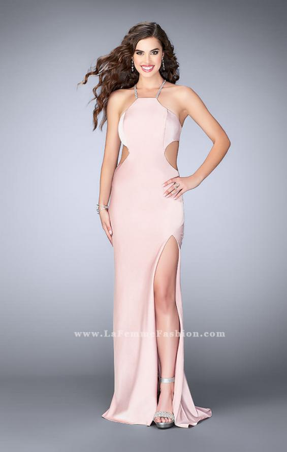 Picture of: Long Jersey Dress with Side Cut Outs and Strappy Back in Pink, Style: 24009, Main Picture