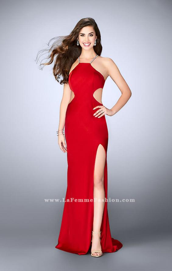 Picture of: Long Jersey Dress with Side Cut Outs and Strappy Back in Red, Style: 24009, Detail Picture 1