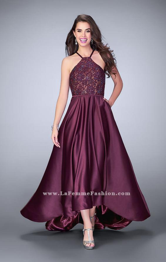 Picture of: High Low A-line Dress with Lace Top and Satin Skirt in Purple, Style: 24012, Main Picture