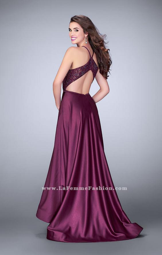 Picture of: High Low A-line Dress with Lace Top and Satin Skirt in Purple, Style: 24012, Back Picture
